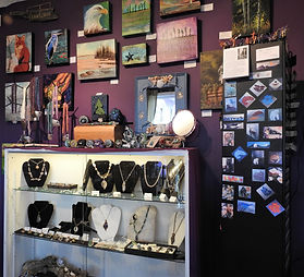 Art Gallery, Parksville BC, Jewellery, Gifts, Sterling Silver, Semi Precious stones, mood earrings, upcycled cutlery and trays,