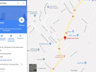 Notre établissement géolocalisé sur Google Maps