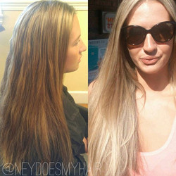 One of my favorite transformations to date! From dark brown lowlights and highlights that weren't li