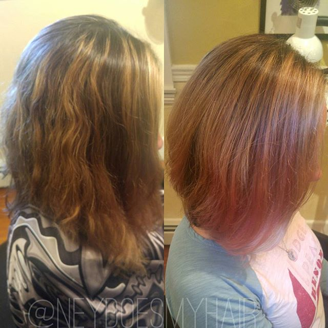 Loving this ❤ pink love transformation! Balayaged with #olaplex and Pravana pastel pink and pink alt