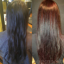 From layers of black to mahogany in one day with #Matrix #SoRed and #Olaplex 👍