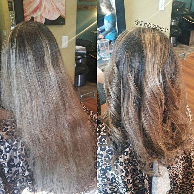 Before + after on this sweet, over-bleached lady! She was scared to color her hair after 4 months of