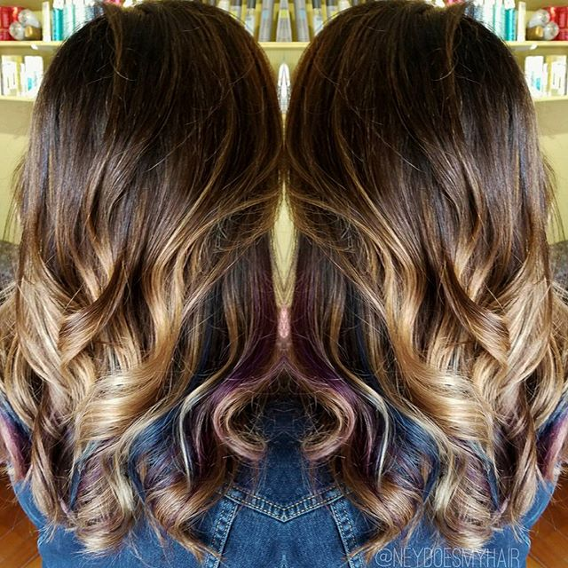 Balayage Ombre with Purple and Blue peekaboos 😍😍😍