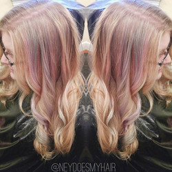 Shout out to my bestie for letting me brighten her natural blonde + add some pastel luuuuv 💙💜💚❤