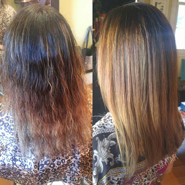 Bless #Olaplex and #Brazilianblowout 👆I couldn't do this blonde transformation without those two th