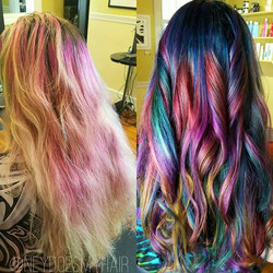 Rainbow oil slick! 🌈 one of my greatest masterpieces! Using all #arcticfoxhaircolor 💋