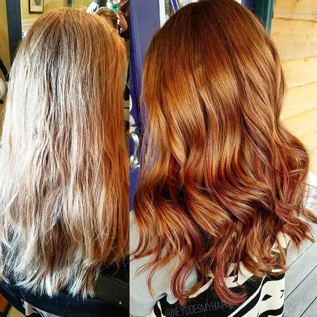 Loving this revitalized firey red head! 🔥🔥🔥 a rich golden, copper base with bright red and plum d