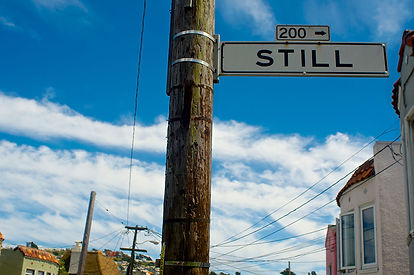 Telephone poll and street sign - SI