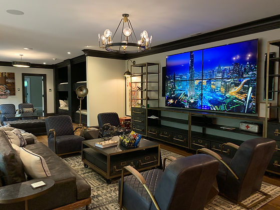 Completed Custom Home Theater with Video Wall Installed and 7.2 Surroud Sound - We serve the Greater Atlanta Fulton County area including Marietta and Lagrange GA