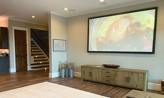 Custom Home Theater with 110 inch screen and 7.1 Surround sound professionally installed in Atlanta GA, Fulton County, Also Serving all of georgia including Lagrange and Marietta as well as the rest of the Southeast United States...
