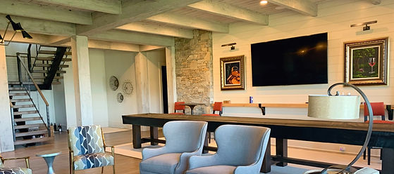 Custom Recreation room with Professional 7.1 Home Theater surround sound, professional flatscreen installation, videoand audio whole home distribution as well as elements of lighting control and home automation in the Atlanta Georgia area...