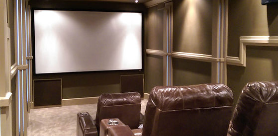 Custom 7.1 Home Theater installed with 110 inch screen and custom Theater seating in the Atlanta GA area, Fulton County Georgia...