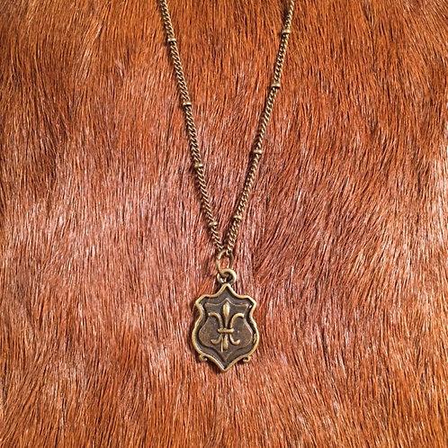 Fleur de Lis Shield Necklace
