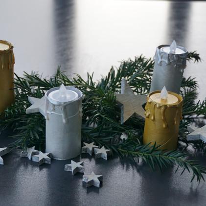Kerzen aus WC-Papier-Rollen
