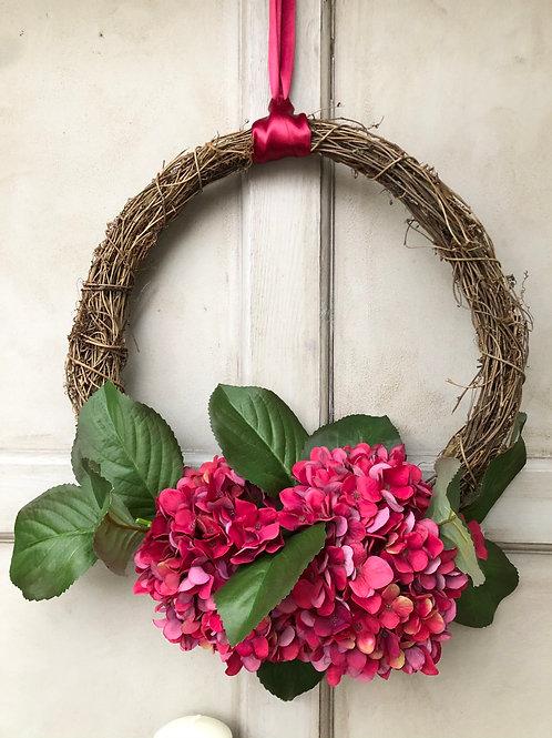 Ruby red semi door wreath