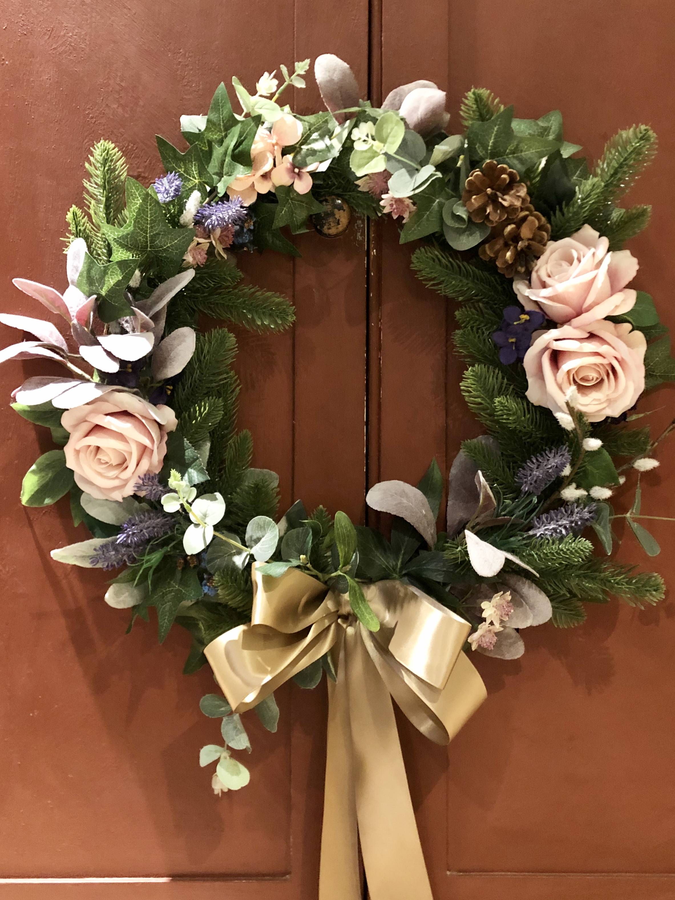 Pink Rose Christmas Wreath