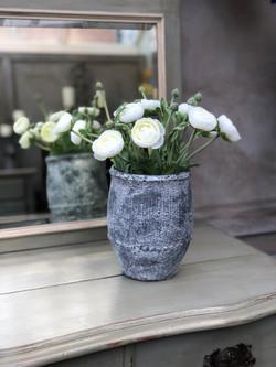White ranunculus in grey pot