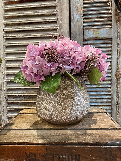 Lilac Hydrangeas in Daisy Vase
