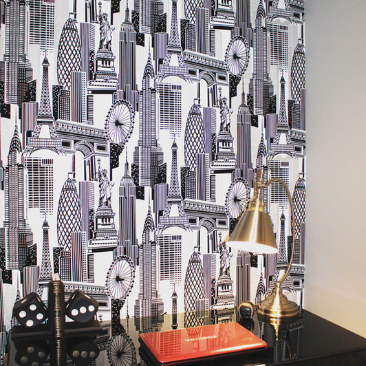 black and white wallpaper, london