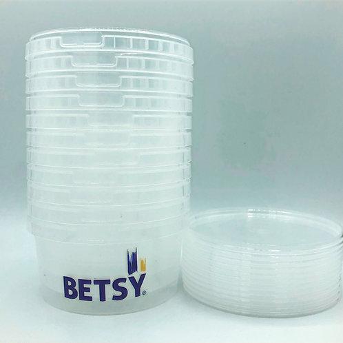 10 x 500ml clear plastic pots with lids