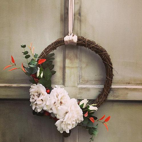 Vintage Cream rose - semi door wreath