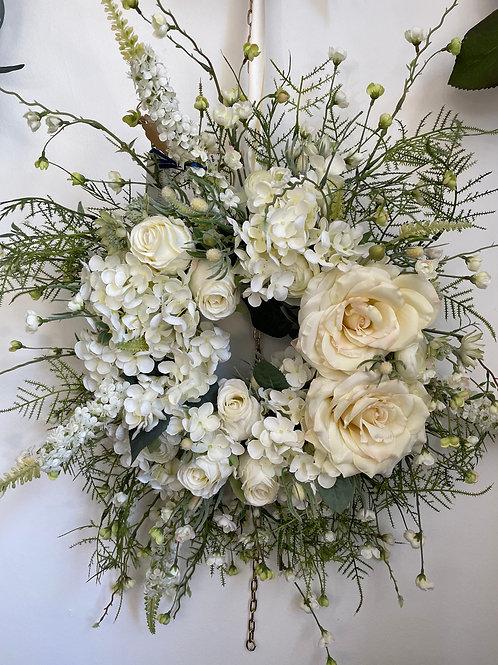 White and Ivory Silk Flower Door Wreath