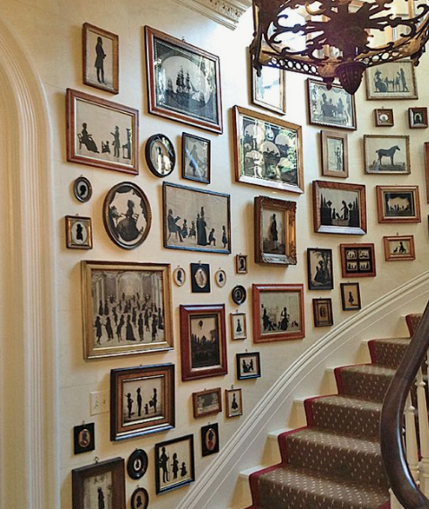 Art collection on the stairs