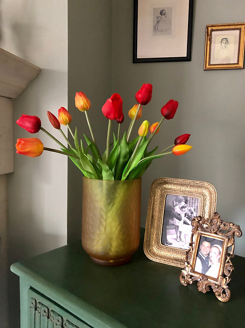 Red & Yellow Faux Tulips in amber Glass Vase