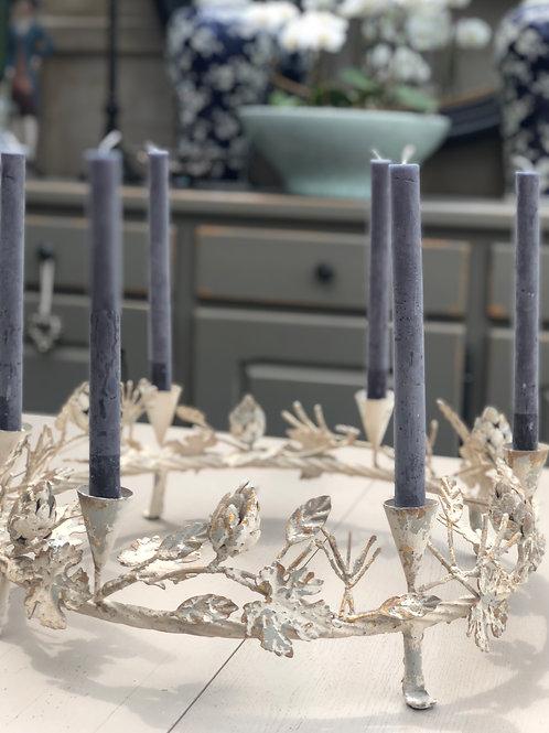 Cream & gold round table candelabra