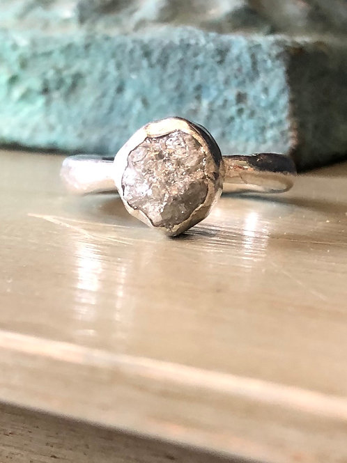 Ring - Raw Diamond Set in Gold on Silver shank