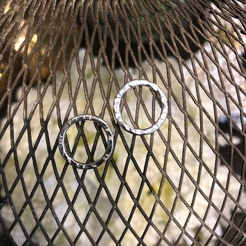 Silver Stud Hoops - Hammered Medium