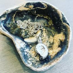 silver ammonite necklace
