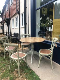 Oak & green dining set