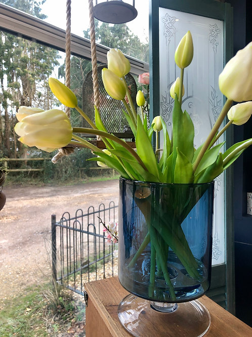 White Faux Tulips in Blue Glass Vase