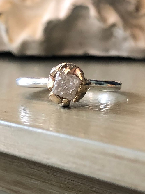 Square Rough Diamond set in Gold & Silver Ring