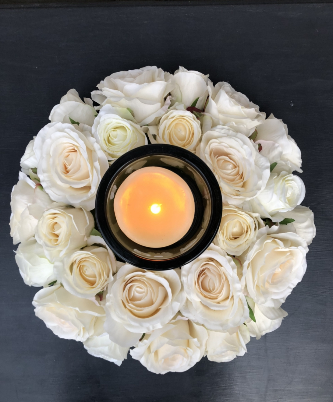 Cream Rose Wreath Candle Holder
