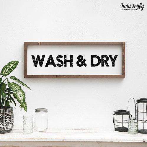 """Laundry Room Schild """"wash & dry"""" 60x20 cm"""