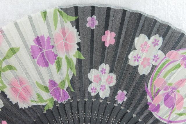 Silk Black Flower Pattern Hand Fan with Case -Handheld Folding Fan