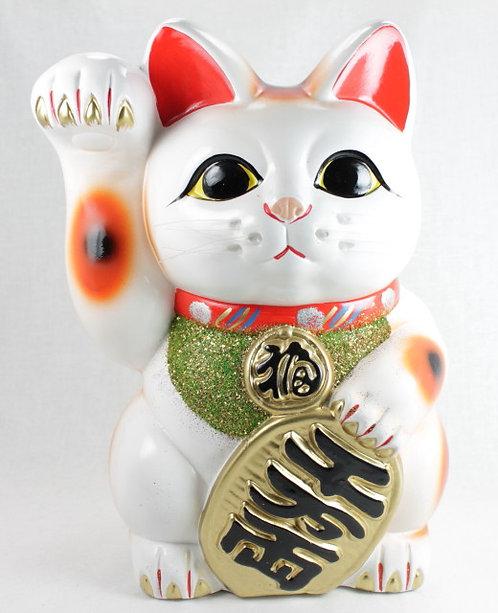 """Lucky Cat """"Maneki-neko"""" Right Paw White - Tokoname-ware"""