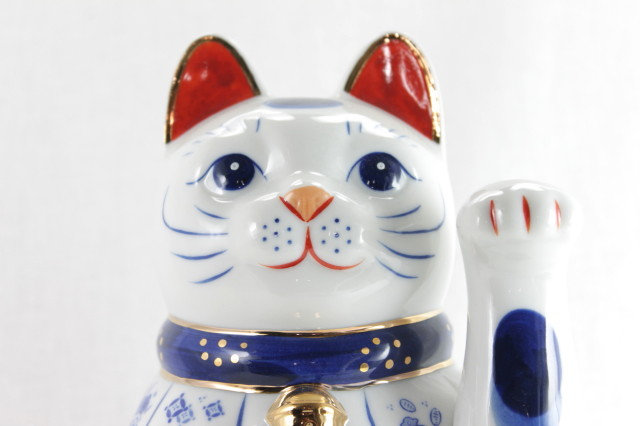 Lucky Cat Left Paw with Lucky Symbols, White - Seto-ware