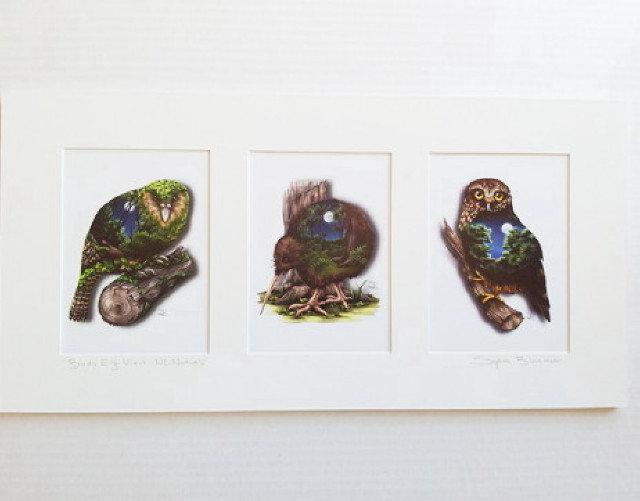 Mounted Trio Nocturnals Natives - Sophie Blokker