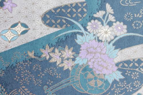 Hand-Dyed Yuzen Washi Paper - 004 Blue Silver