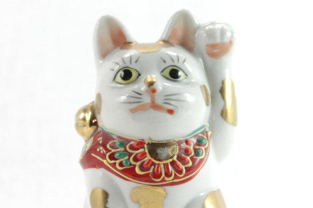 """Lucky Cat """"Maneki-neko"""" Left Paw White - Kutani-ware"""