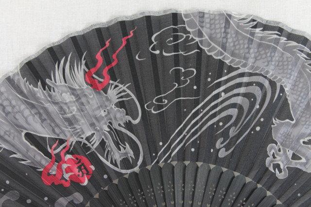 Silk Black Dragon Hand Fan with Case -Handheld Folding Fan