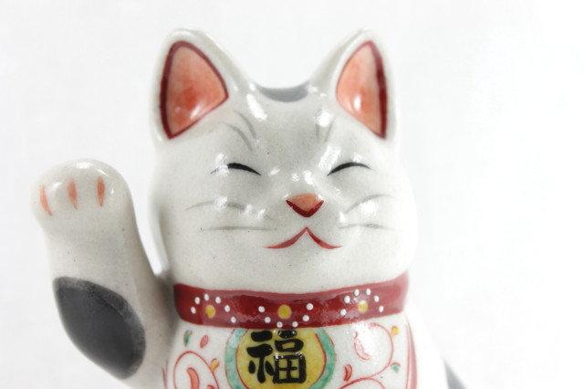 """Lucky Cat """"Maneki-neko"""" Right Paw with Happiness, White - Seto-ware"""