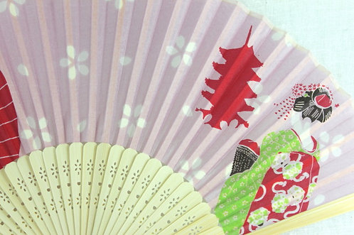 Silk Kyoto Maiko Hand Fan with Case -Handheld Folding Fan