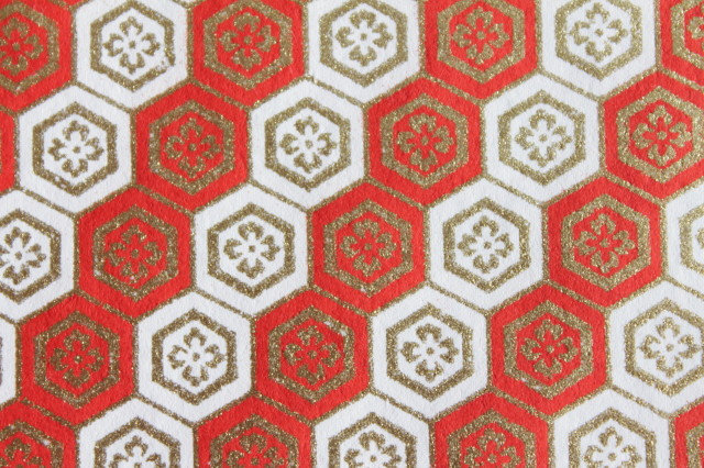 Hand-Dyed Yuzen Washi Paper - 006 Red White