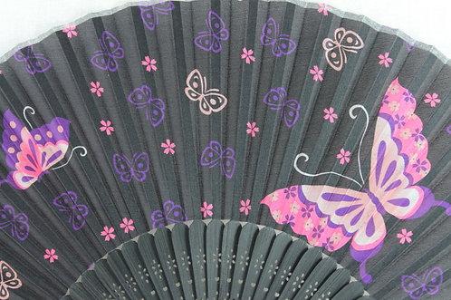 Silk Black Butterfly Hand Fan with Case -Handheld Folding Fan