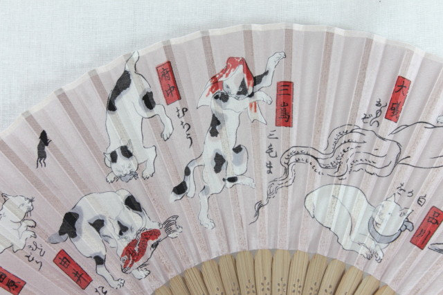 Silk Kuniyoshi Cats Hand Fan with Case -Handheld Folding Fan