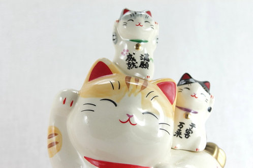 4 Lucky Cat, Happiness, Wealth, Customers and Good Fortune - Se